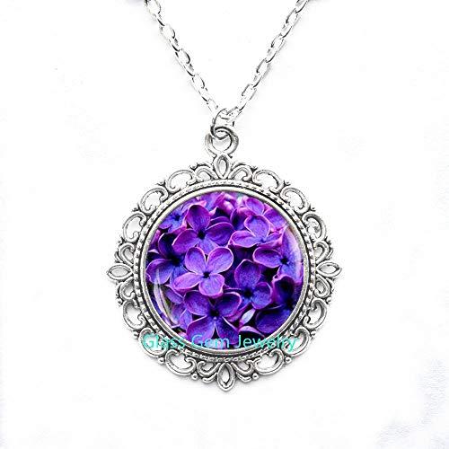 Q0040 Blauer Blumen-Anhänger, blaue Blumen-Halskette, blauer Blumenschmuck, Blumen-Foto-Anhänger, blaue Halskette, Frühlingsblumen-Motiv, Q0040