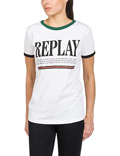 REPLAY Kurzarm Shirt Camiseta, Blanco (White 1), Small para Mujer