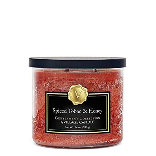Village Candle Spiced Tobac & Honey Medium Bowl, 14oz, Orange, 1 count