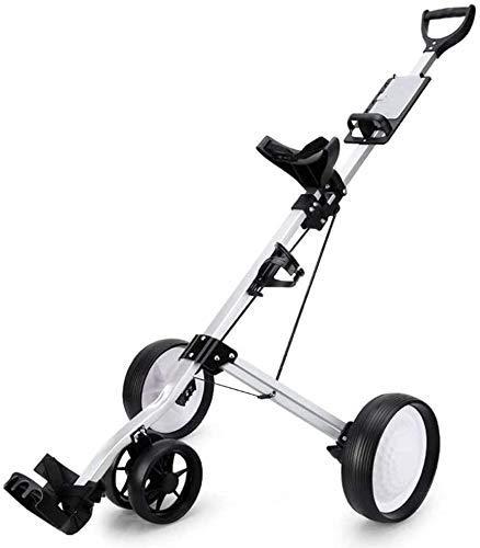 XBSLJ Golftrolley Zieh-Golfcarts 4-Rad Golf Cart Push Pull, klappbarer Golf Pull Trolley mit Getränkehalter, Compact Pull Caddy Cart, leicht zu öffnen
