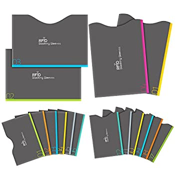 Aerb RFID Blocking Sleeves Set of 16  12 Credit Card Holders & 4 Passport Protectors  for Identity Theft Protection Perfectly Fits Wallet/Purse
