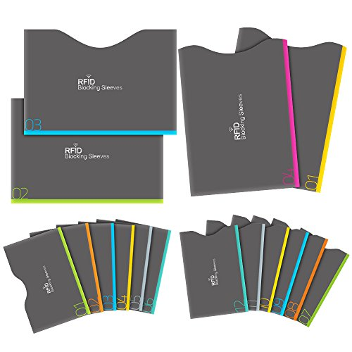 Aerb RFID Blocking Sleeves, Set of 16 (12 Credit Card Holders & 4 Passport Protectors) for Identity Theft Protection, Perfectly Fits Wallet/Purse