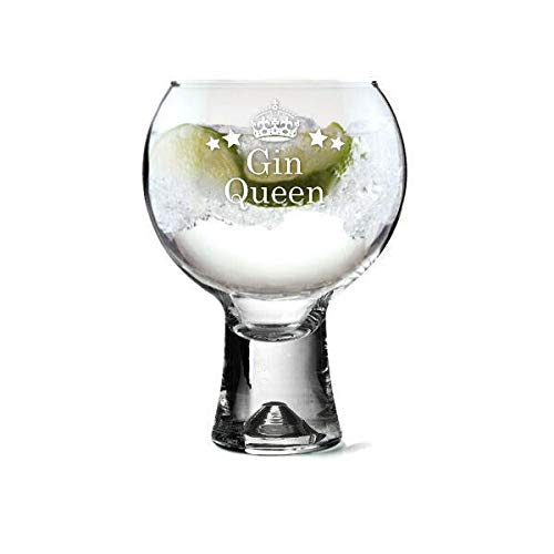 County Engraving Thick Stem Gin Glass - 540ml Gin Glass (GIN Queen)