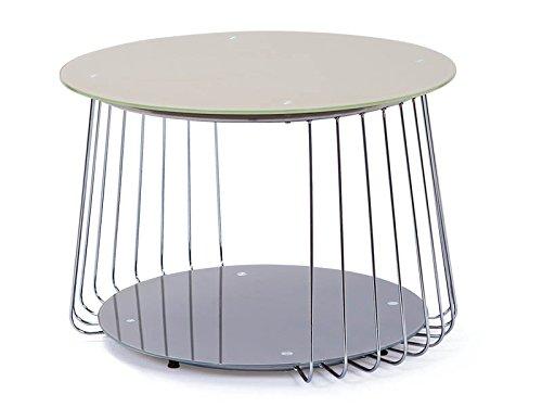 Design Beistelltisch 70 cm aus Glas satiniert - cappuccino mit Ablage
