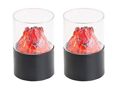 Carlo Milano Flackerlicht für Kamin: 2er-Set Mini-Dekofeuer mit Flackerlicht, Sichtglas, batteriebetrieben (LED Feuer)