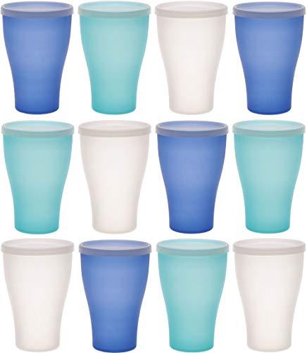 idea-station NEO Kunststoff-Becher 12 Stück, 450 ml, Ice-Edition, Deckel, mehrweg, bruchsicher, Plastik-Becher, Party-Becher, Trink-Becher, Party-Geschirr, Camping-Geschirr, Trink-Gläser, Kinder