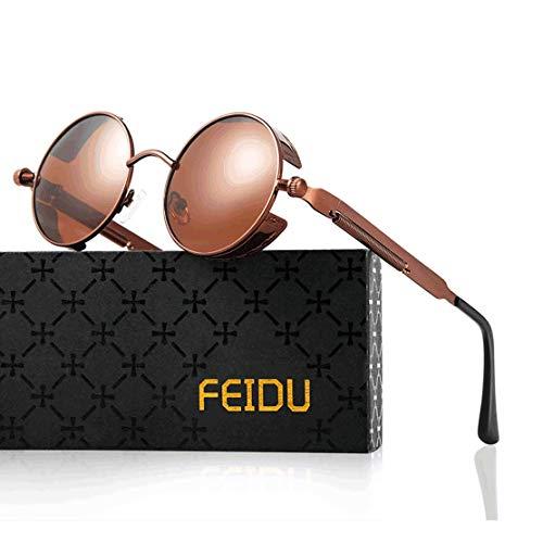 FEIDU Retro Vintage Runde sonnenbrille herren - Polarisiert mit rundem Metallrahmen,sonnenbrille damen FD 3013 (Y-Braun Braun, 1.81)