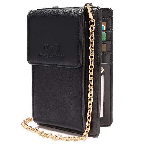 U+U (2019 Version RFID-blockierende Schultertasche aus PU Leder mit Kette für Reisen, Schwarz - Schwarz - Größe: Small