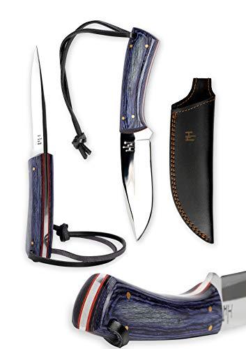 Hobby Hut HH-403, 20 cm Handgemachtes Bushcraft Messer, 01 Kohlenstoffstahl, Jagdmesser mit Scheide, Camping Messer, Micarta Griff, lederscheide