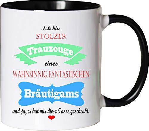 Mister Merchandise Becher Tasse Stolzer Trauzeuge eines wahnsinnig fantastischen Bräutigams - Er hat Mir die Tasse geschenkt Kaffeetasse Bedruckt Kaffeebecher Geburtstagsgeschenk Weiß-Schwarz