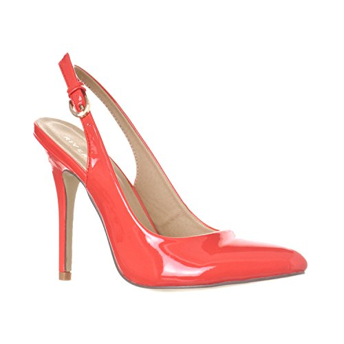 Riverberry Women's Lucy Pointed-Toe, Sling Back Pump Stiletto Heels, Coral Patent, 9