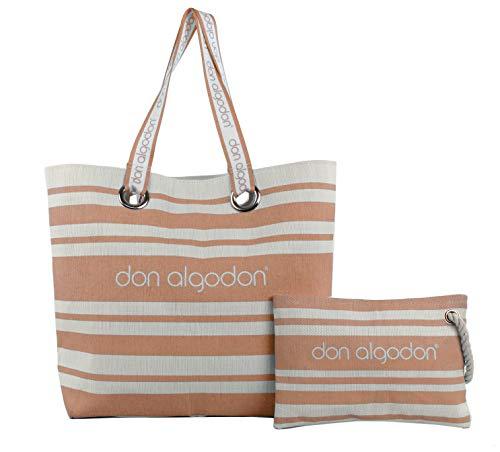 Don algodón, Capazo playa y bolso de mano Beach Edition para Mujer, Naranja, 38x49x16 cm