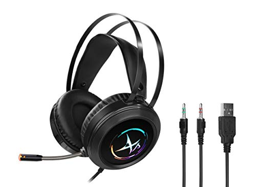 Gaming Headset for PS4 PC Xbox One Controller Noise Cancelling Over Ear Headphones with Mic RGB LED Light Bass Surround