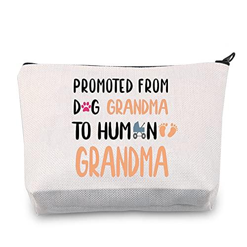 """Kosmetiktasche mit Aufschrift \""""Grandma to Human Grandma To Be (Großmutter), Schwangerschaftsankündigung, Geschenk für werdende Oma, Leinwand.,"""