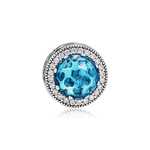 LISHOU Se Adapta A La Pulsera Pandora Argent Charm 925 Sterling Silver Blue Crystal Radiant Heart Charms Beads para DIY Women Jewelry Making
