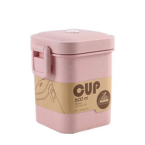 MJJCY 900 ml Material Saludable Caja de Almuerzo 3 Capa de Trigo Paja Bento Becte Becware Microondas Vajilla Almacenamiento Almacenamiento Lunchbox (Color : Pink B)
