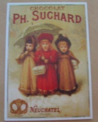 Chocolat SUCHARD - 3 Enfants - 10x15 cm CARTE POSTALE