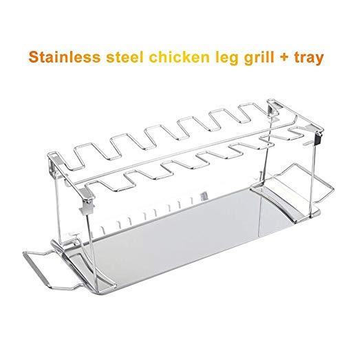 Repuestos para hornos Rack de piernas de pollo + bandeja para el horno de la parrilla del fumador del horno de acero inoxidable del horno de la tostadora del soporte de la barbacoa de la barbacoa Acce