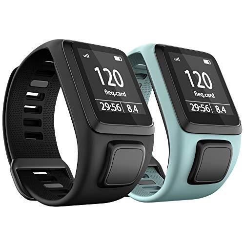 ANBEST Cinturino per orologio in TPU compatibile con Tomtom Runner 3/Spark 3/Runner 2/Adventurer 2/Golfer 2, comodo cinturino per Tomtom Runner 2 Music/Runner 3 Cardio Smart Watch, Nero, Verde