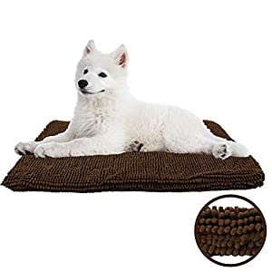 My Doggy Place Ultra Absorbent Padded Microfiber Chenille Dog Crate Mat for Pets, Premium, Durable, Washable Kennel Bed (35″ x 22″, Brown)