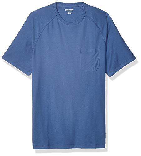 Amazon Essentials - Camiseta de manga corta de hilo flameado, manga raglán, cuello redondo y corte entallado para hombre, Azul, US M (EU M)
