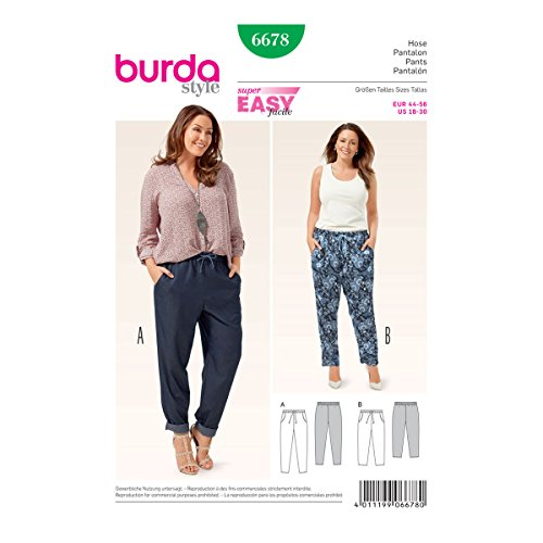 Burda b6678Schnittmuster Hose Papier weiß 19x 13x 1cm