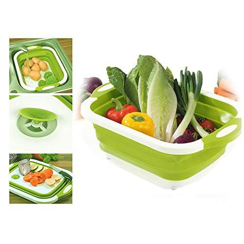 XLGX 4 en 1 Bassine Rétractable Vert, Panier Linge Pliable Égouttoir à Vaisselle Grand Panier de Rangement Cuisine Fruit Basket (40x30x3cm)