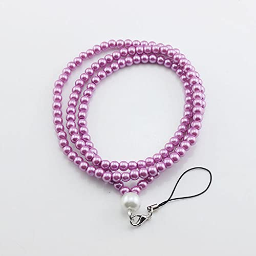 FYMIJJ Fashion Sling Pearl fashion mobile phone straps lanyard accessories phone Camera Universal Lanyard Rope,Purple