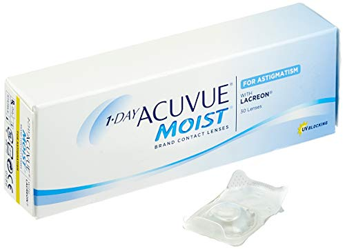 Acuvue 1-Day Acuvue Moist For Astigmatism Tageslinsen weich, 30 Stück/ BC 8.5 mm / DIA 14.5 mm/ CYL -1.75 / ACHSE 50 / -0.5 Dioptrien