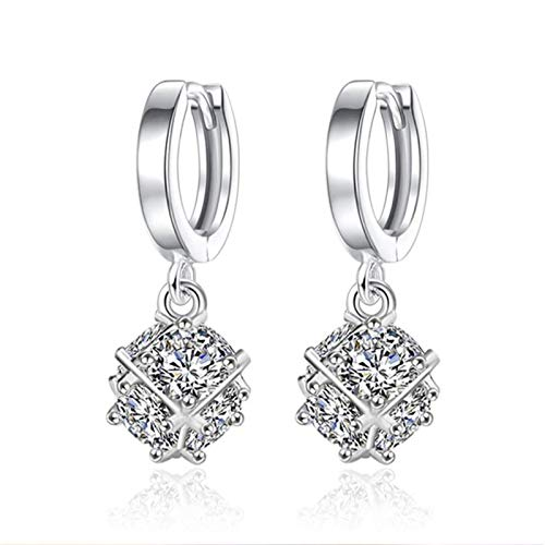QIN 925 calambres Colgantes de Plata esterlina se aplican a los Tapones de los oídos Elegantes de Las Mujeres