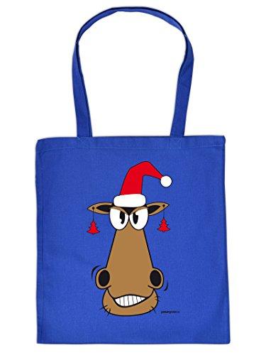 Lustige Geschenktasche für Weihnachten : Pferd mit Weihnachtsmütze - Baumwolltasche Weihnachten Farbe: royal-blau