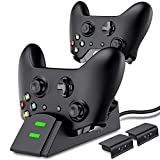 Controller Charger for Xbox one, Controller Charging Station Compatible with Xbox One/Elite Dual Charging Dock with 2 x 1200mAh Rechargeable Battery Packs