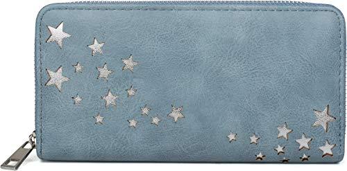 styleBREAKER Damen Portemonnaie mit Metallic Stern Cut-Outs, Reißverschluss, Geldbörse 02040115, Farbe:Blau