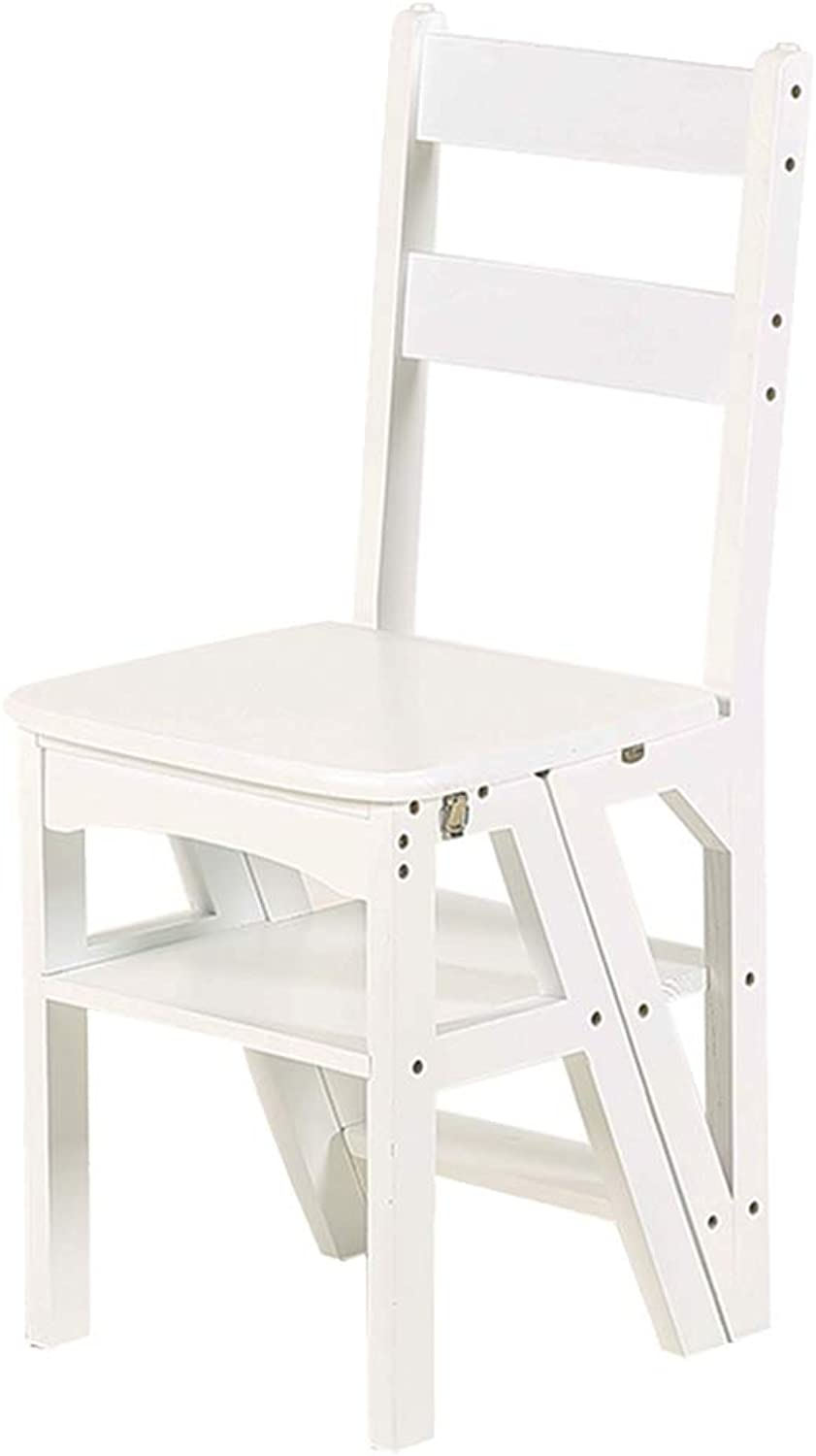 XSJ-Stepladder Household Folding Wooden Step Stool Stair Chair Seats for Adults & Kids, Multi-Purpose Fold Up Library Kitchen Ladder Chair 4-Steps Bench,White