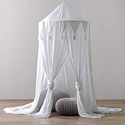 STRIR Dosel Para Cama Infantil Algodón Cúpula, Princesa de Dosel de la Cama, Mosquitera Para Cuna Niña, Cambio de Imagen Chicas Dormitorio Altura 240cm (Blanco)