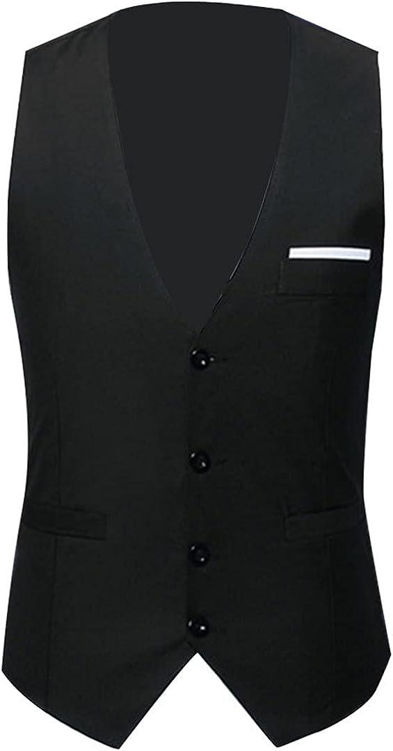 Ciystekn Men Vests Waistcoat Solid Color V Neck Sleeveless Buttons Plus Size Formal Business Vests