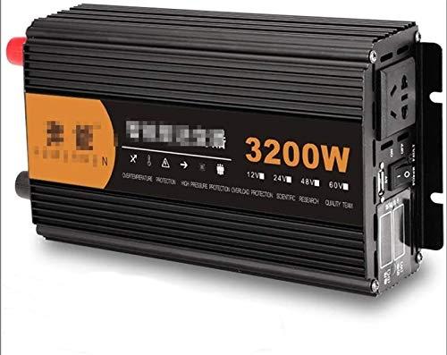 ZLZH Inversor de Potencia de 3200W, con zócalo de CA y Puerto de Carga USB LED Pantalla Digital Inversor Pure Sine DC 12V 24V a 220V CA Transformador de conversión de Voltaje (Color : 24Vto220V)