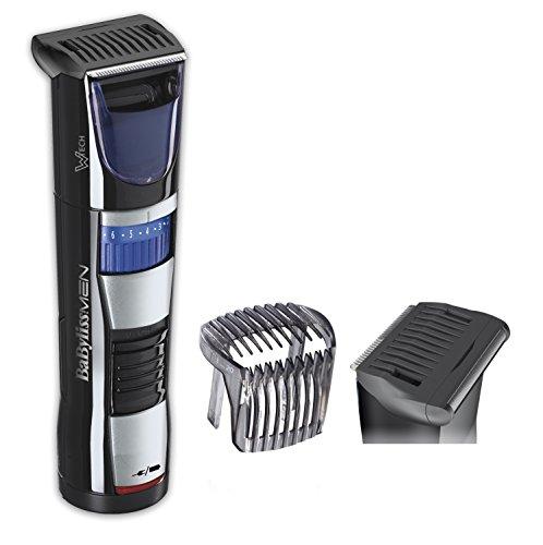 BaByliss T840E - Afeitadora y recortadora de barba, cuchillas resistentes de acero inoxidable, 60 minutos de autonomía, uso con y sin cable, negro