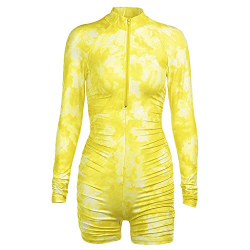 GROOMY Rompers, Women Long Sleeve Zip Jumpsuit Gradient Tie-Dye Butt Lift Biker Shorts Playsuit- Yellow-L