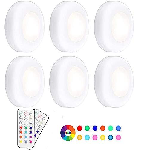Pursnic RGB-LED-Lichter, kabellos, dimmbar, Nachtlichter mit batteriebetriebener Fernbedienung, buntes Party-Ambiente für Küche, Schrank, Theke, Wand im Innenbereich, 6 Stück