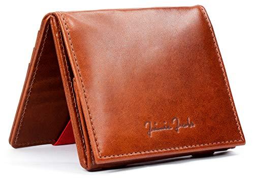 JAIMIE JACOBS Flap Boy - Das Original - Magic Wallet mit Münzfach und RFID-Schutz Magischer Geldbeutel magisches Portmonaie Brieftasche mit Kleingeldfach Herren echtes Leder (Dunkelbraun mit Rot)