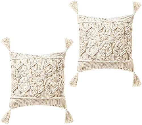 Mkouo Kissenbezug werfen Tassel Makramee Kissenbezug (Kisseneinsätze Nicht enthalten) Set of 2 Decorative Kissenbezug for Bed Sofa Couch Bench Car Boho Home Decor,43cm