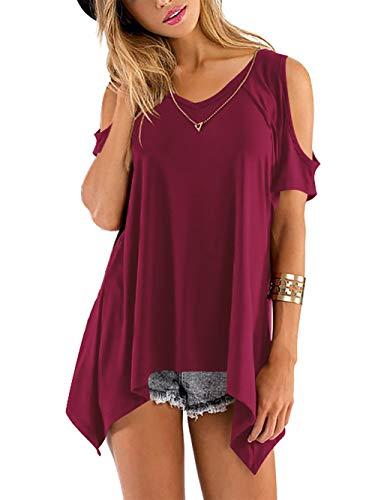 Beluring Tops Damen Sommer T Shirt Oberteil Tops Bluse mit V Ausschnitte, A-weinrot, 42-44 (Herstellergröße: L)