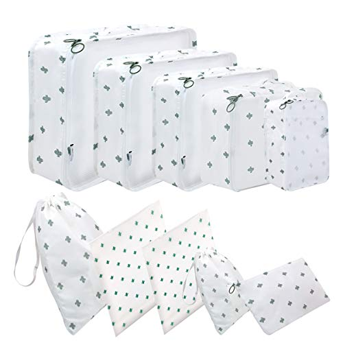 Packing Cubes 10 Different Sizes Travel Luggage Packing Organizers Pouches 10 Piece White Cactus