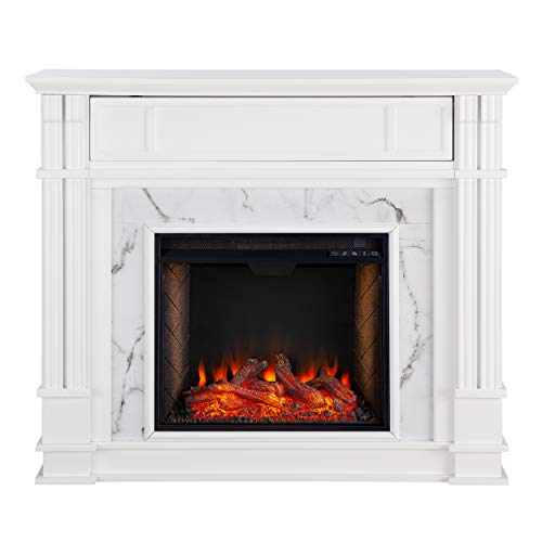 Southern Enterprises Highgate Electric Alexa Enabled Smart Media Fireplace White, Whiskey Maple