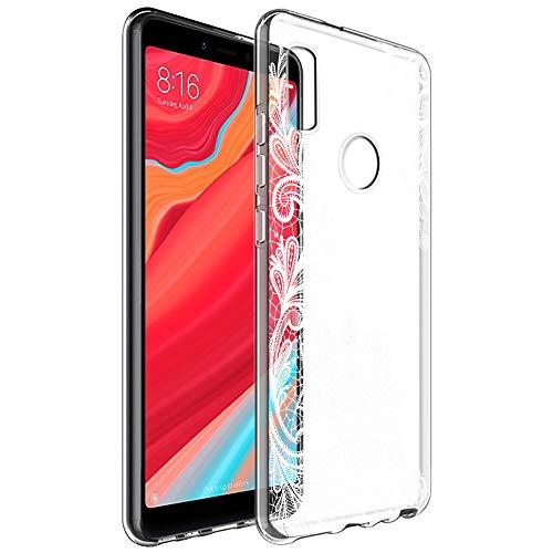 Funda Xiaomi Redmi S2, Eouine Cárcasa Silicona 3D Transparente con Dibujos Diseño Suave Gel TPU [Antigolpes] de Protector Bumper Case Cover Fundas para Movil Xiaomi Redmi S2 (Flor Blanca)