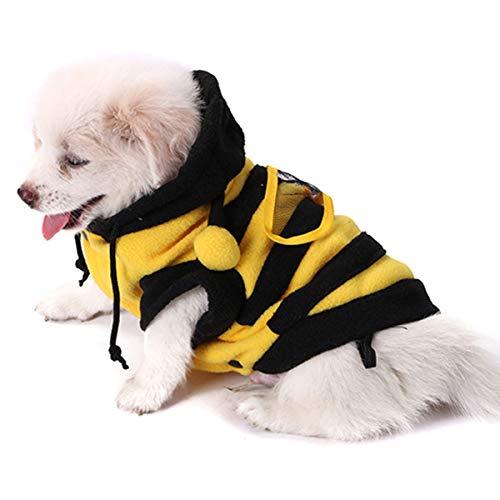 NCONCO Disfraz de abeja, para perro, con capucha, ropa para mascotas