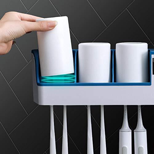 Sterilizzatore per spazzolino da denti Sterilizzazione a raggi ultravioletti intelligente Perforazione Porta spazzolino multifunzionale a parete gratuito-blu