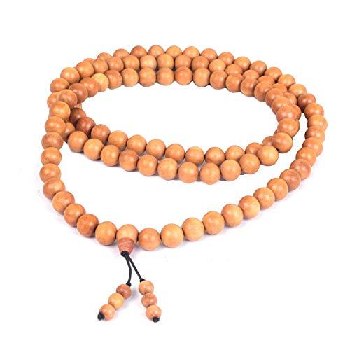 Jingle Jewels Guirnalda de madera de sándalo ajustable hecha a mano | oración de meditación de madera | Guirnalda para mano y cuello