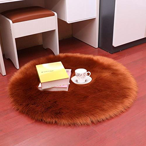 Miwaimao 1 Bedroom Imitation Wool Carpet Cushion Pad Warm Wool Artificial Fur Seat Cushion Sofa Office Carpet Area Rugs,Brown,60 × 60cm